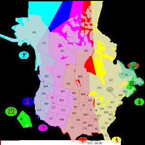 Fuseaux horaires au Canada et USA