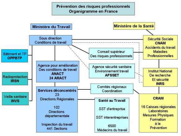 prévention des risques professionnels organigramme en France