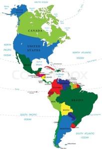 carte des pays aux Amériques