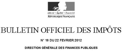 BO bulletin officiel des impôts 2012