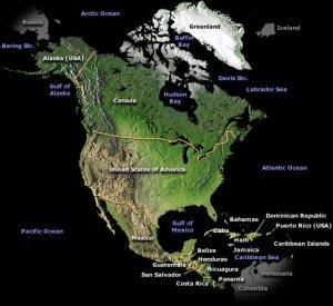 carte de l'Amérique du Nord et de l'Amérique centrale