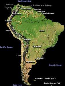 carte de l'Amérique du Sud