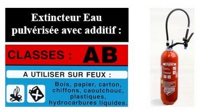 extincteur eau pulvérisée avec additif