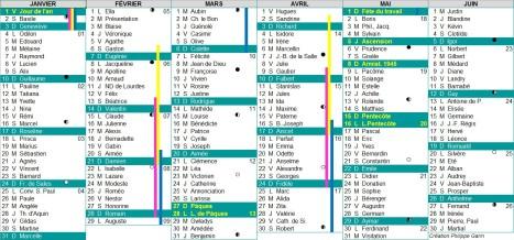 calendrier 2016 semestre 1