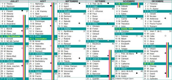 calendrier 2016 semestre 2