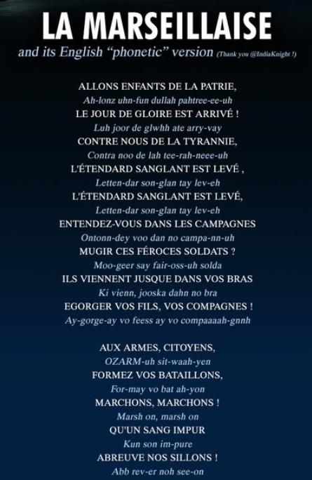 La Marseillaise en phonétique anglais