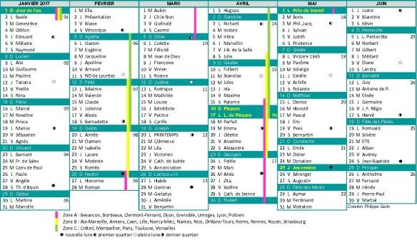calendrier 2017 semestre 1