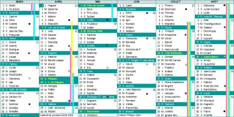 calendrier scolaire 2018 2019 partie 2