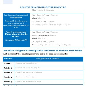 RGPD Le registre des traitements
