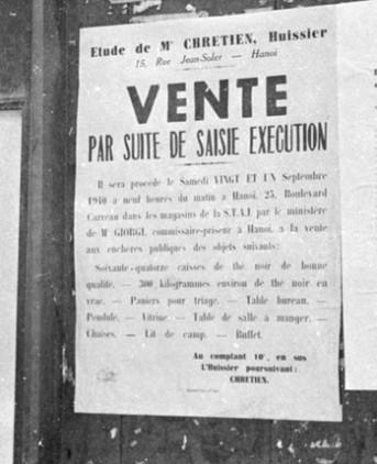 avis de saisie en 1940