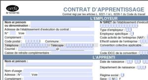 formulaire contrat d'apprentissage