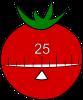 minuteur de cuisine en forme de tomate pour la technique pomodoro des 25 minutes de travail concentré