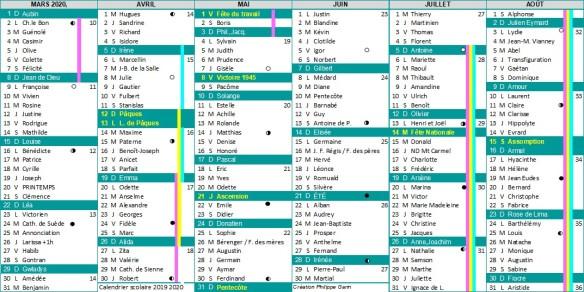 calendrier scolaire 2019 2020 partie 2