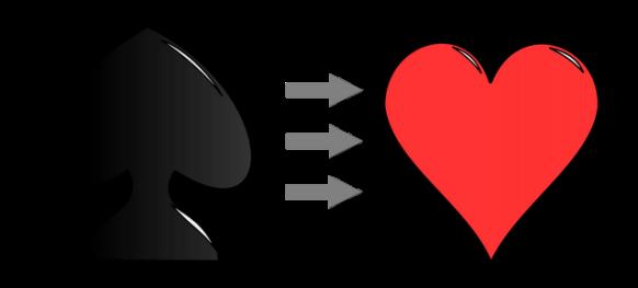 reconversion pique vers coeur