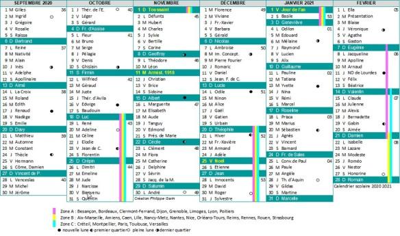 calendrier scolaire 2020 2021 partie 1