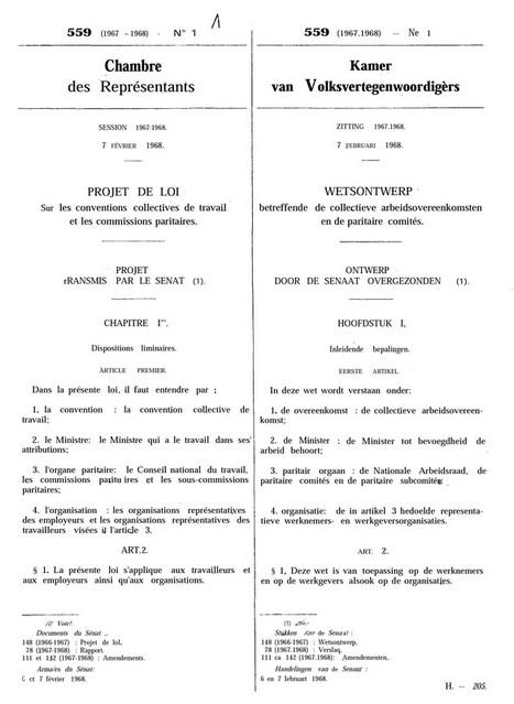 Projet de loi sur les conventions collectives de travail et les commissions paritaires, le 7 février 1968